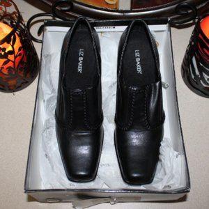 Liz Baker Black Wood Heeled Squared Toe Shoes